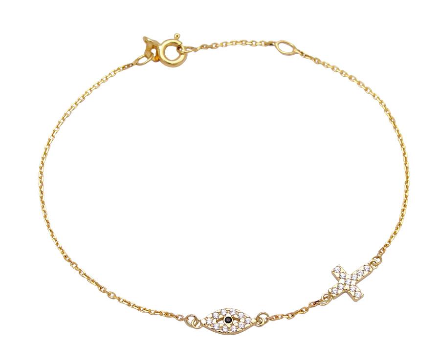 Κόσμημα - Χρυσο βραχιολι Κ14 ματι με σταυρο - Sigma Oro by Stamatakis b53b14e4bf2