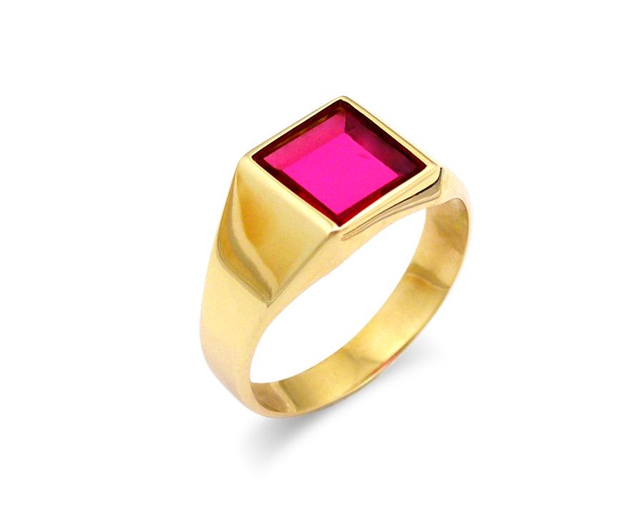 Κόσμημα - Χρυσο δαχτυλιδι Κ14 με κοκκινη καρε πετρα - Sigma Oro by ... 462beccf649